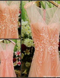Popular New Design Sexy A-Line Pink V-Neck With Cap Sleeves Beading Pearls See Through Long Elegant Prom Dresses 2014 MF-012