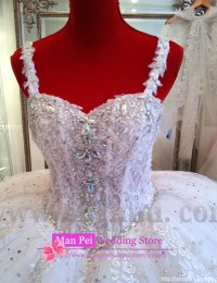 Gorgeous Real Sample Spaghetti Strap Sweetheart Beaded Diamond Luxury Shining Puffy Vintage Ball Gown Wedding Dresses 2014 MF257