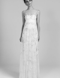 2014 Elegant Fashion Sexy White Empire With Applique Beads See Through Wedding Dresses Bridal Gowns Chiffon VC177