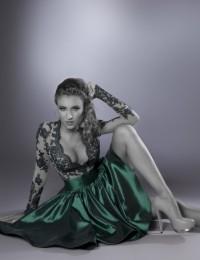 Hot New Unique Design Long Sleeve Dark Green Lace Short Cocktail Dresses Prom Dresses Satin CO1030