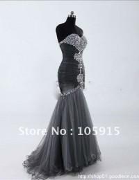 Silver Trumpet Mermaid Sweetheart Floor-length Sleeveless Beaded Rhinestone Glaring Formal Prom Dress Evening Gowns Tulle HL-286