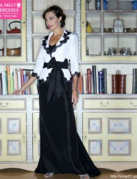 (MH-4)Custom Made Strapless Long Sleeve Lace A-line Black And White Bow Taffeta Vintage Mother Of The Bride Dresses