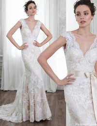 2015 Amazing V-Neck Cap Sleeve Sleeveless Sash Lace Wedding Dress Court Train Mermaid Wedding Dresses Vestido De Noiva MK-14