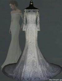 Fashionable Custom Made Off The Shoulder Elegant Long Train See Through Lace Mermaid Wedding Dresses Robe De Mariage 2015 MK-7