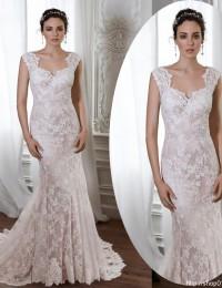 New Arrival Romantic Sweetheart Cap Sleeve Retro Floor Length With Train Lace Wedding Dress Mermaid Wedding Dresses 2015 MK-13