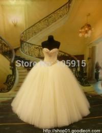 2014 Vintage Ball Gown Sweetheart Long Beaded Luxury  Crystal Floor Length Wedding Dresses Bridal Gowns vestido de noiva  MF-018