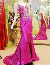 Excellent Mermaid Sweetheart Cap Sleeves Sheer Beaded Crystal Sequined Long Dress Party Evening Elegant Prom Dresses 2014 MF032
