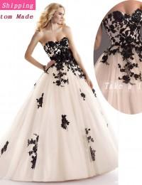 Custom Made Fashionable Ivory Flutty Removable-Flower-Sash Black Lace Wedding Dress Free Shipping  Bride Wedding Ball Gowns JK02