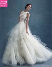 Romantic Design A-Line Scoop Sleeveless Appliques Long See Through Tulle Lace Vintage Wedding Dress Vestido De Noiva 2015 MK-8