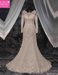 Vestido De Noiva Scoop Long Sleeve Lace Wedding Dress 2015 Hot Sale Sweetangel Sheer With Train Mermaid Wedding Dresses MM-5