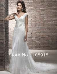 Charming Free Shipping Crystal Buttons and Back Simple White Beach Wedding Dresses Lace Bride Wedding Gowns SV25