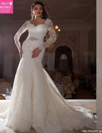 Sheer Long Sleeve Lace Wedding Dress Beading Sash Mermaid Wedding Dresses Vestido De Noiva 2015 Casamento Robe De Mariage MM07