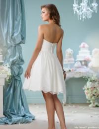Short Wedding Dresses Lace Strapless Wedding Gonws Romantic With Sash Vestido De Noiva Curto Custom Made New Arrvial W1123C
