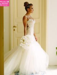 Romantic Sweetheart Beaded Sleeveless Spaghetti Straps See Through Back Lace Mermaid Wedding Dresses Vestido De Noiva 2014 MK-3