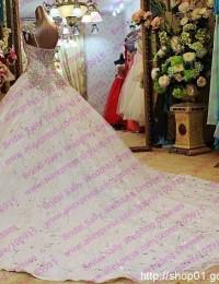 2016 Fashionable A-Line White Beading Crystal Sparkling Luxury Wedding Dresses Bridal Gowns Vestido De Noiva W5877G
