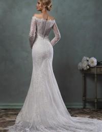 Delicate Mermaid Wedding Dresses Long Sleeve Lace Muslim Wedding Dress Vestidos De Novia Off Shoulder Sexy Wedding Gowns W0409J
