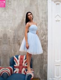 Vestido De Festa Curto Short Prom Dresses Srapless With Sash Knee Length Homecoming Dresses Cocktail Party Dresses 2016 PH-26