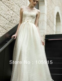 Custom Made Fashion Charming With Pearls Beads Sequins Lace See Through Wedding Dresses Tulle VC-80
