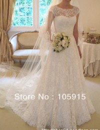 2014 New Arrival Couture Sexy See Through White Lace Buttons With Short Sleeves Wedding Dresses Bridal Gowns Satin AL-02
