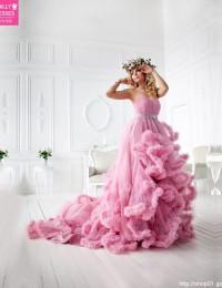 Colorful Wedding Dresses 2015 Beaded Strapless Pink Wedding Gowns Ruffles Wedding Photography Dress Studio Shoot Dress PH-5