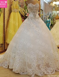 Honorable A-Line Wedding Dress 2015 Vestido De Noiva Beading Sequin Crystal Long Train with Bow China Online Store W5877I