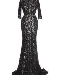 Actual Images Formal Half Sleeves Open Back Lace Evening Gowns Mermaid women Long dress Black Satin EV1061