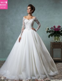 Sexy Wedding Dress 2016 Lace Wedding Gowns Long Sleeve Organza Vintage Wedding Dress Vestido De Noiva Robe De Mariage W0409D