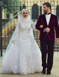 Robe De Mariage Lace Long Sleeve Vintage Wedding Dress 2015 Hot Sale Sweetangel Vestidos De Noiva Casamento Aramex BS-67