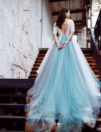Colorful Half Sleeve Lace Prom Gowns Chapel Train Evening Dress Long Party Dresses Photography Studio Dress Robe De Soiree PH-38