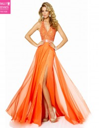 2015 Charming A-Line Prom Dresses V-Neck Tank Sleeveless Lace Open Back High Split Casual Dress Long Elegant Prom Dresses M030