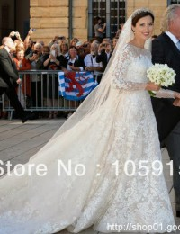 Luxury Vestidos De Noiva Custom Made Long Train Sexy Lace Wedding Dresses With Long Sleeves Bridal Gowns Satin VC-95