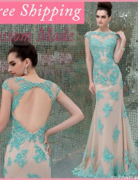 2014 Elegant Bodycon Sheath Lace Sleeves Prom Party Dresses See Through Open Back Vestidos De Fiesta Free Shipping Satin YL501