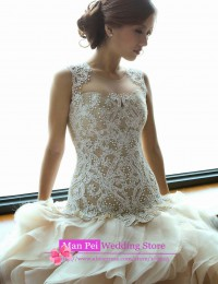 Gorgeous Ivory Scoop Sleeveless See Through Lace Beaded Tiered Ruffles Sexy High Low Wedding Dresses 2015 Robe De Mariage MF382
