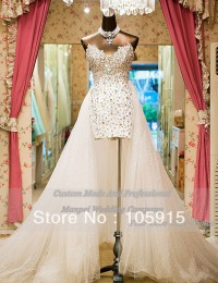 2014 Real Sample Luxury Corset White/Ivory With Crystal And Beads Removable Chapel Train High Low Wedding Dresses Organza CN-28