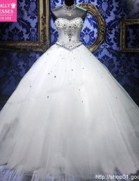 2013 Royal White Bandage Sequins Rhinestone Crystal Actual Ball Gown Wedding Guest Dresses Organza WY-13