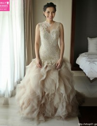 Real Sample Romantic A-Line See Through Scoop Beading Long Ivory Ruffles Sexy Lace Wedding Dress 2015 Vestido De Casamento MF385
