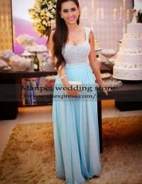 2015 Robe de Soiree Hot & Sexy A-Line Blue Scoop Sleeveless Beading Floor Length Long Prom Dress Party Evening Elegant MF-28