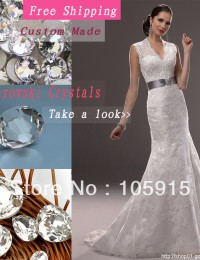 2014 Fashionable White Crystal Bow Sash Buttons V-Neck Mermaid See Through Wedding Dresses Bride Wedding Dress Lace MH05