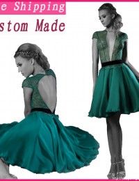 Hot Sexy Unique Design Dark Green With Sleeves Lace Short Cocktail Dresses Open Back Women Party Dresses Chiffon CO1031