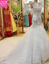 Fantastic Mermaid Wedding Dresses Luxury Beading Sparkling Crystal See Through Trumpet Wedding Gowns Chapel Train Bow W5877E