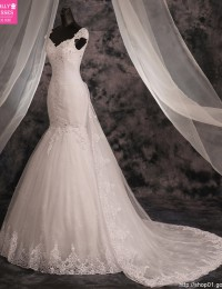 Vestido De Casamento Vintage Custom Made White Sweetheart Cap Sleeves Lace Up Beading Mermaid Lace Wedding Dresses 2015 MF275