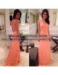 Vestidos de Fiesta New Fashion Sexy Peach A-Line Sweetheart Sleeveless See Through Back Long Lace Prom Evening Dress 2015 MF-26