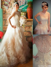 Custom Made Charming A-Line Scoop Sheer Beaded Pearl White With Ruffles Vestido De Noiva 2014 Sexy Vintage Wedding Dresses MF384