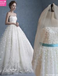 Appliques With Sash Nice Custom Made Fashionable A-Line Strapless Vestido De Noiva Casamento Vintage Wedding Dress 2015 MS111