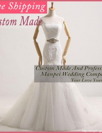 Elaborate Real Photos Custom Made White Lace Up Wedding Dresses Mermaid With Lace Bridal Gowns Free Shipping MH272