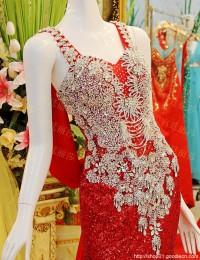 Real Sample Shining Mermaid V-Neck Sleeveless Beaded Crystals Sequined Long Elegant Evening Prom Dresses With Train 2015 MF019