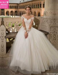 2016 Winter Long Sleeve Lace Wedding Dresses A-Line Sexy See Through Wedding Gowns Robe De Mariee China Online Store W122415