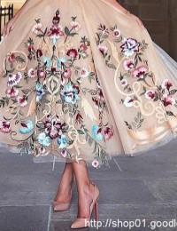 2016 New Prom Dresses Embroidery Spaghetti Straps Flowers Tea-Length Party Dresses vestido De Festa Sexy Evening Dresses W1157