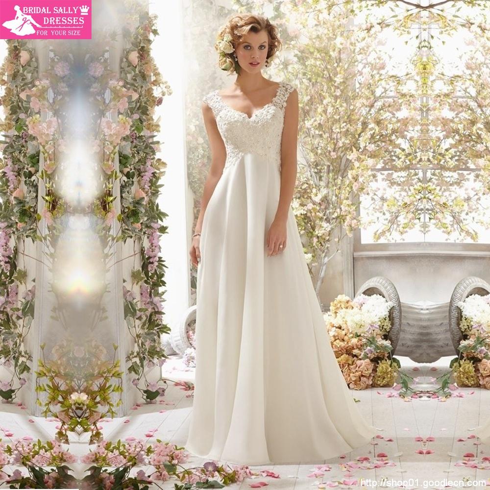 2015 Custom Made  Fashionable V-Neck Chiffon Detachable Back Cowl  A Line Lace Beach Wedding dresses Bridal Gowns