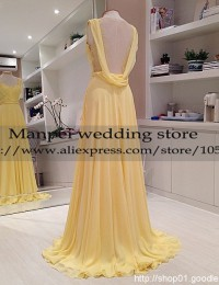 2015 Vestido de Festa Longo A-Line Yellow Scoop Lace Sleeveless See Through Back Long Prom Dress Party Evening Elegant  MF-8